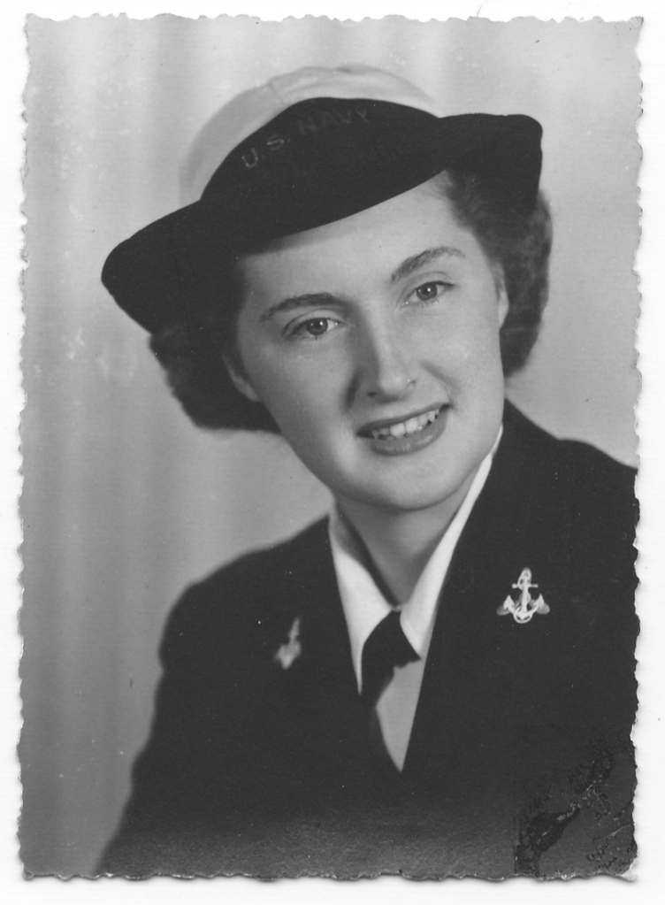This is Bim's sister Lois, a WAVE (Navy) in 1944. My aunt, so your great-aunt, and the kids' great-great. Here's a bit of history about the WAVEs: http://www.history.navy.mil/photos/prs-tpic/females/wave-ww2.htm