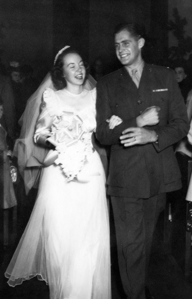 Lieutenant Harold W. Flesher at his wedding to Margaret Williamson Flesher, January 1, 1946. Dad's in his marine uniform.