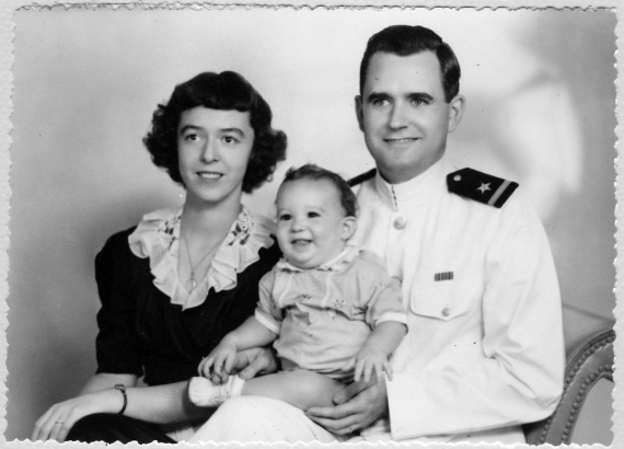 Mary, Bob, and Chang, 1944, summer or tropical Navy uniform.